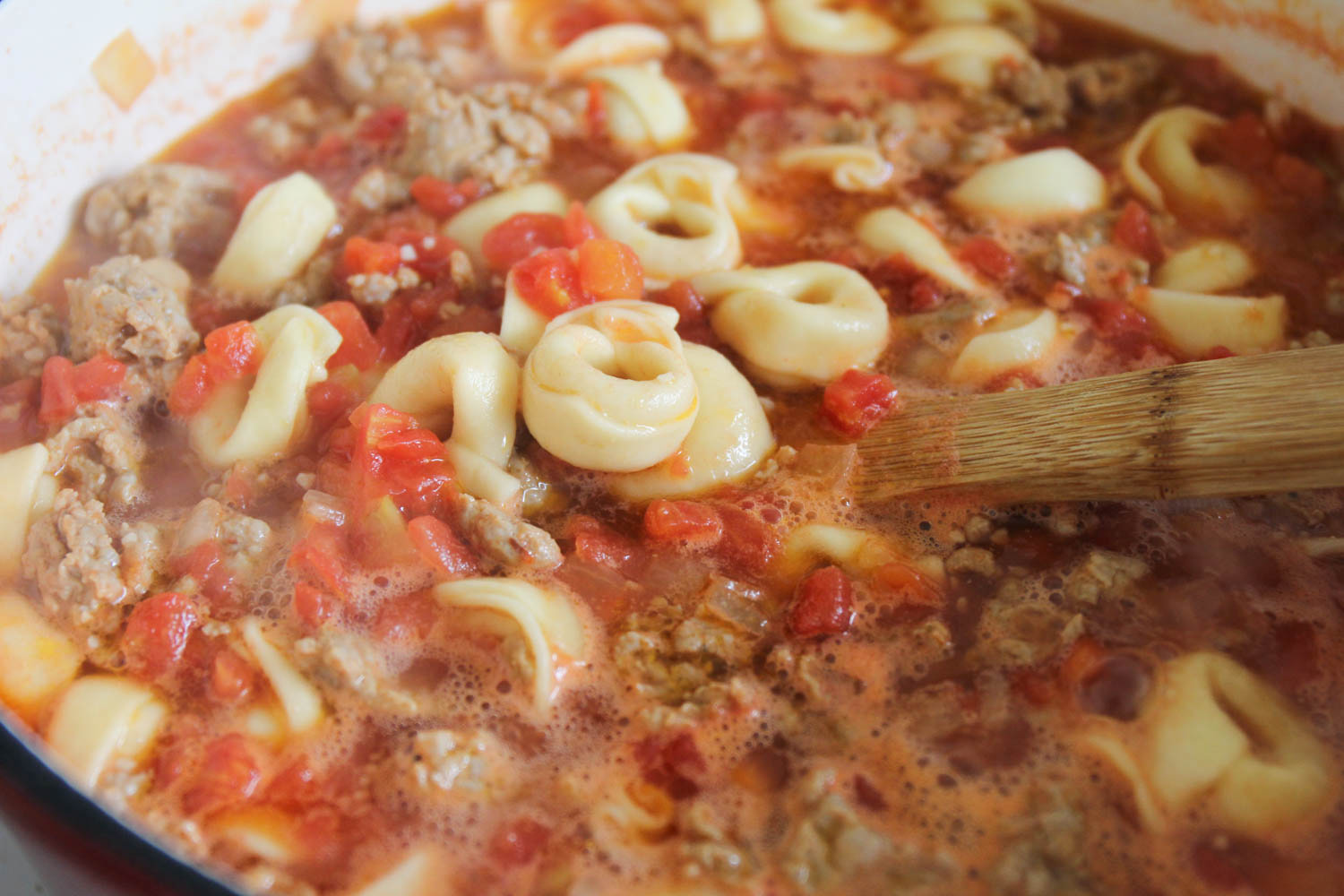 This savory and delicious sausage and tortellini soup is the perfect hearty meal for a cold night!