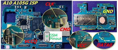 Samsung A10 SM-A105G ISP(EMMC) Pinout For EMMC Programming Flashing And Remove FRP Lock