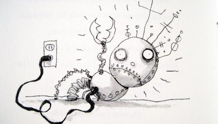 Imagem: ilustração feita pelo Tim Burton do Menino Robô, em aquarela e caneta, um garoto robô, com um cabeça redonda, olhos arredondados, braços mecânicos e ligado por um fio em uma tomada.