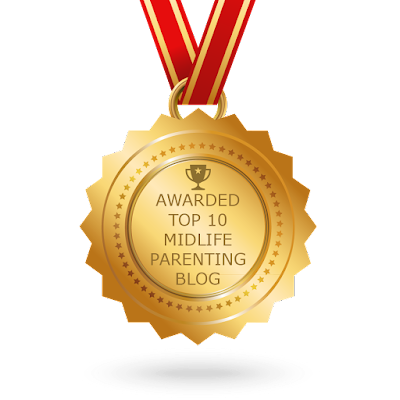 "Badge ""Awarded Top 10 Midlife Parenting Blog"""
