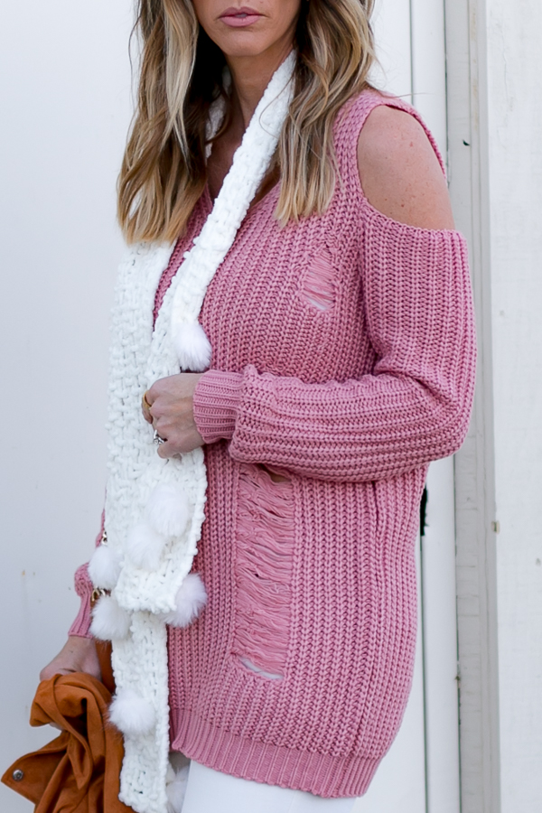 pink cold shoulder sweater