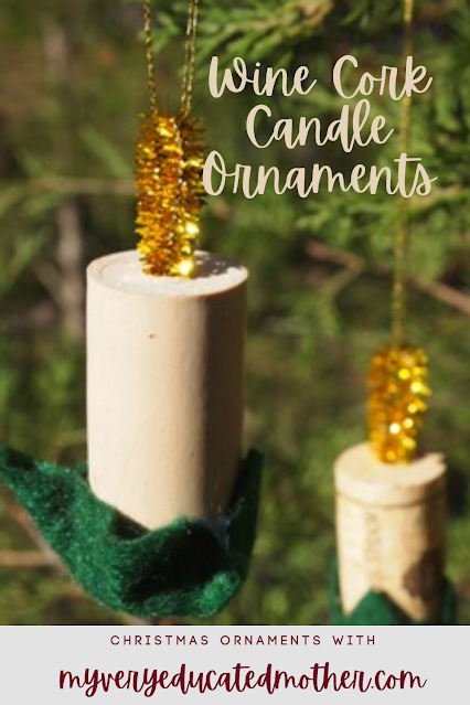 Wine Cork Candle Christmas Ornament