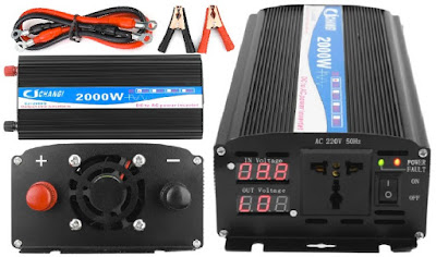 CJ-2000Q Power Inverter: 2000Watts Pure Sine Wave Voltage Converter with LED Display - 12V DC to 220Volts AC Powerbank