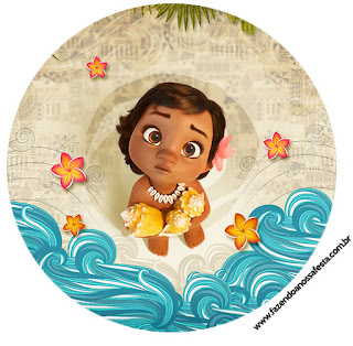 Moana Baby Toppers or Free Printable Candy Bar Labels.