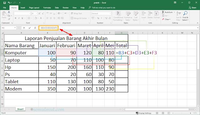 cara membuat tabel di excel dengan rumus