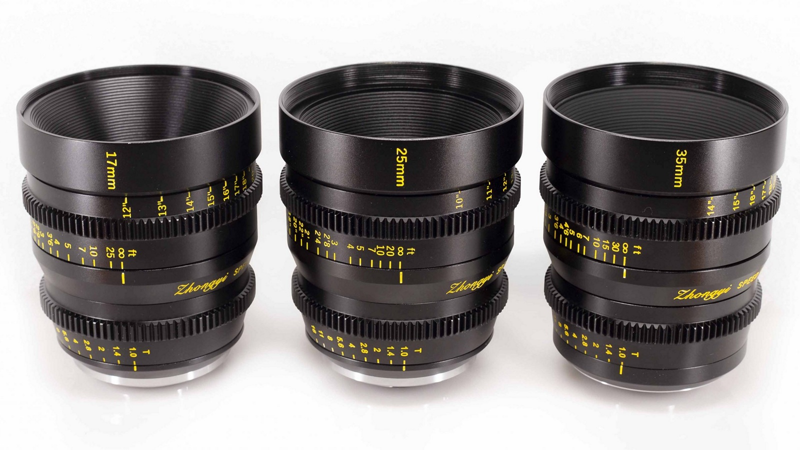 Три объектива Mitakon Speedmaster Cinema 17mm, 24mm и 35mm T1.0