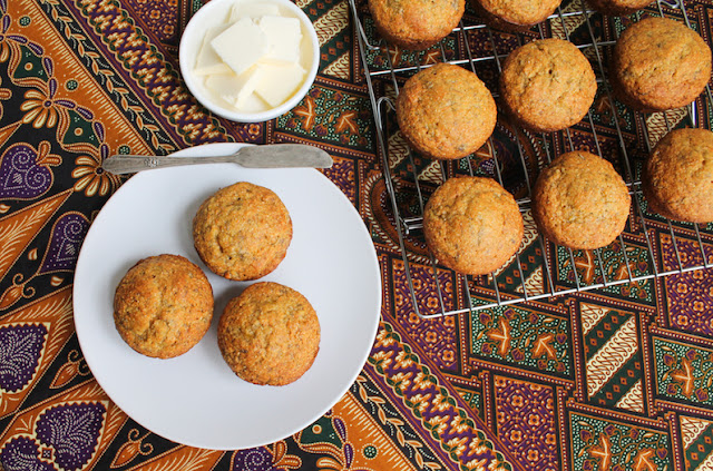 Food Lust People Love: Sweet ripe bananas and maple syrup replace the sugar in these wonderful maple banana cornbread muffins. They make a fabulous breakfast or snack on the go!