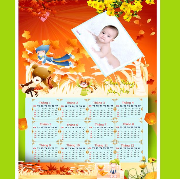 file hình mẫu lịch em bé psd