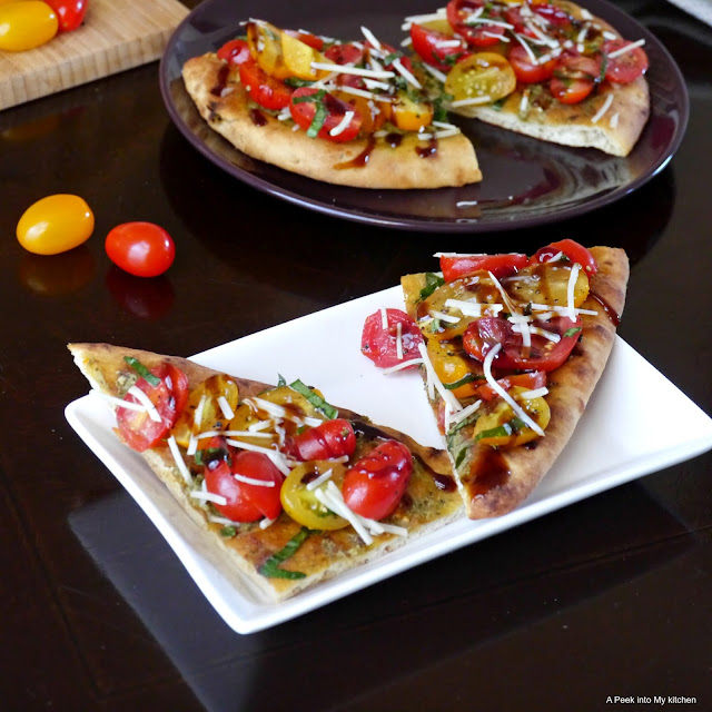 Grape Tomatoes Naan Crostini Drizzled with Balsamic Glaze ~ Day 157