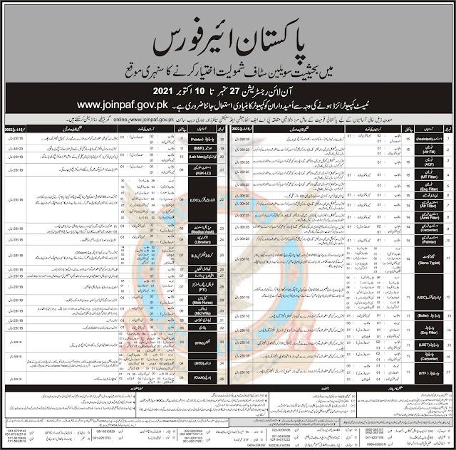 PAF Civilian Jobs October 2021 (800+ Vacancies) || Pakistan Air force Jobs Apply - Online All Pakistan