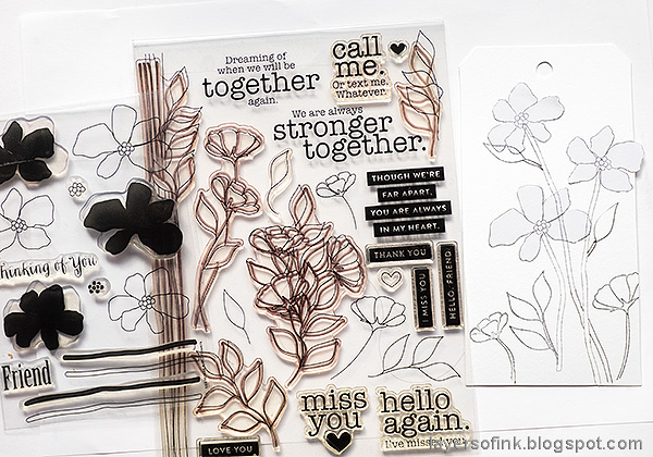 Layers of ink - Watercolor floral on black background tutorial by Anna-Karin Evaldsson. Simon Says Stamp Stronger Together.