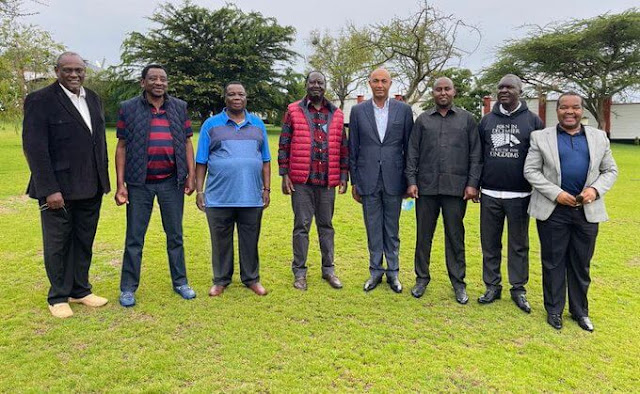 Raila Odinga with other leaders in Kajiado photo