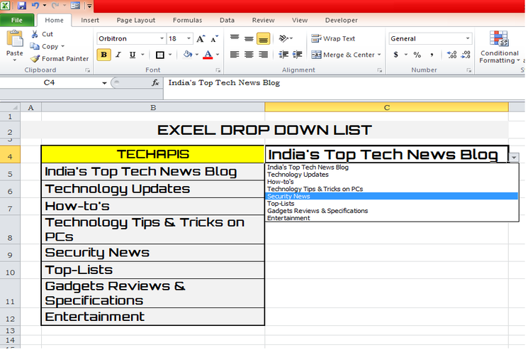 Excel Drop Down List