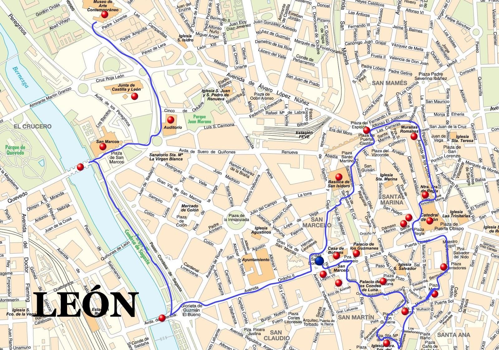 Barrio Humedo Leon Mapa.Que Ver En La Ciudad De Leon Con Mapa