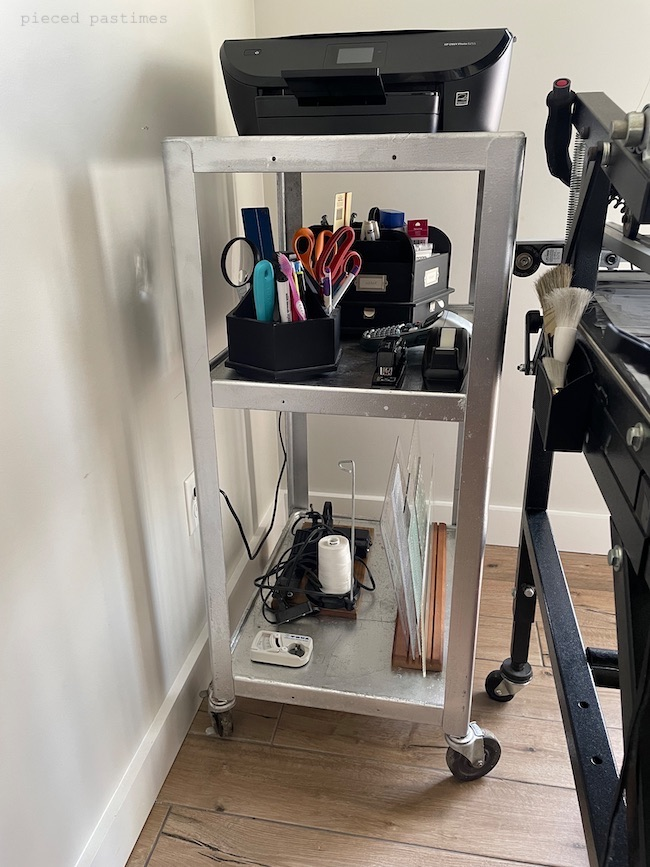 Industrial Tiered Wheeled Cart in the Sewing Room