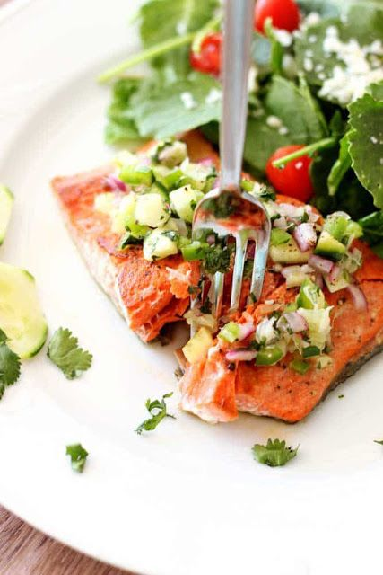 pan seared salmon with cucumber lime salsa