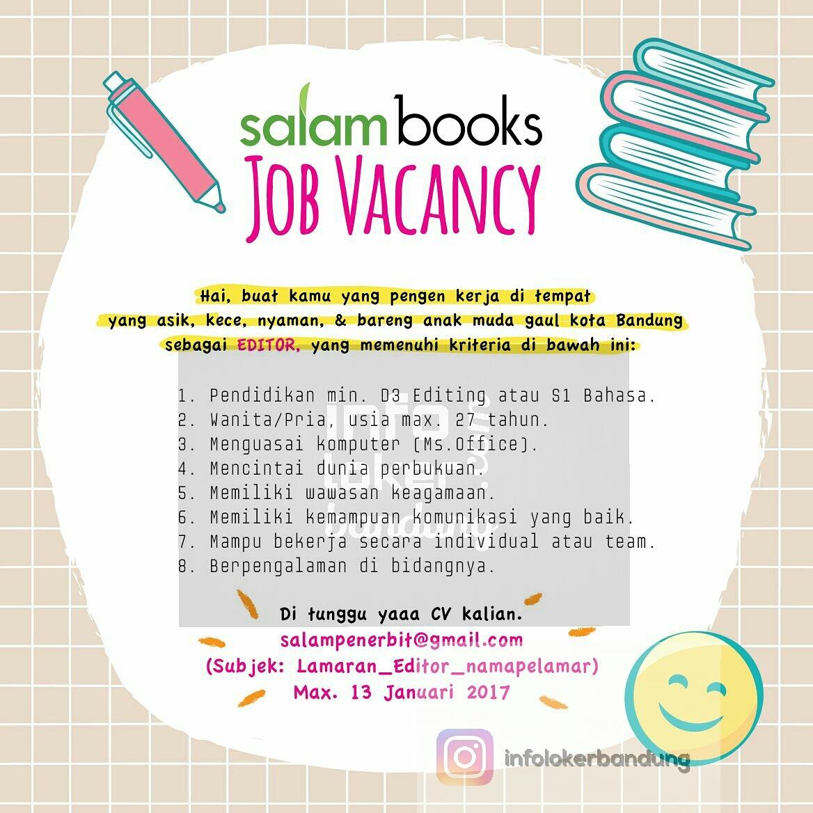 Lowongan Kerja Penerbit Salam Books Bandung Januari 2017