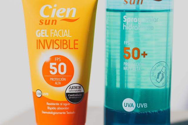Los dos solares de lidl juntos, gel facial y spray