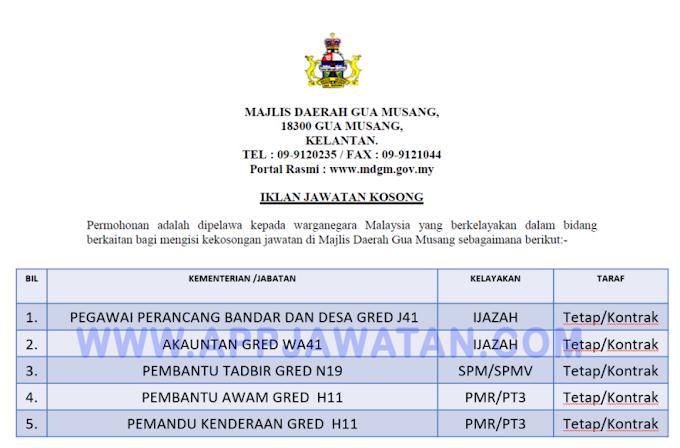 Jawatan Kosong Terkini di Majlis Daerah Gua Musang.