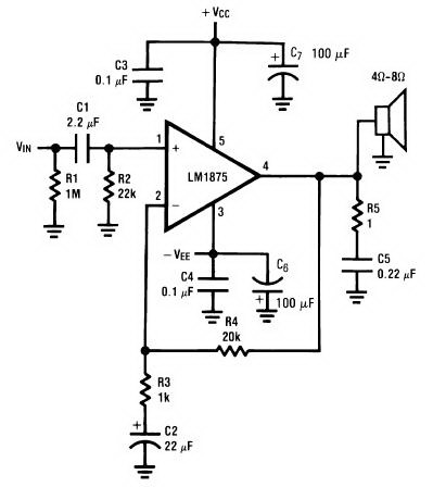 20 Watt Audio Amplifier With Lm1875 Circuit Diagram