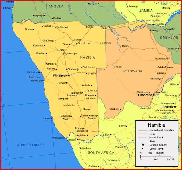image: map of Namibia