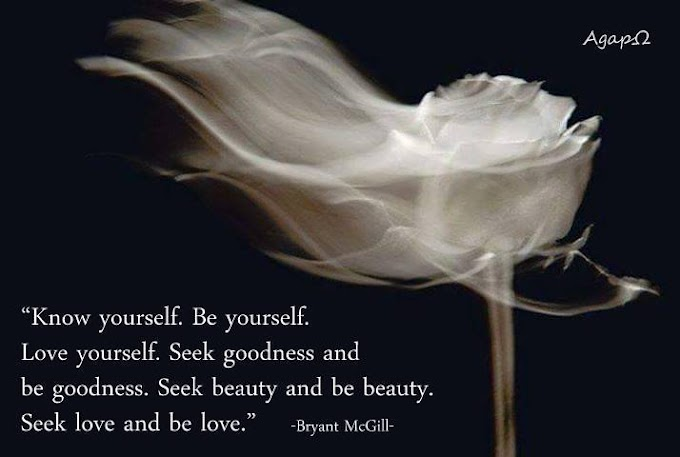 Know yourself. Be yourself. Love yourself. Seek goodness and be goodness. Seek beauty and be beauty. Seek love and be love.