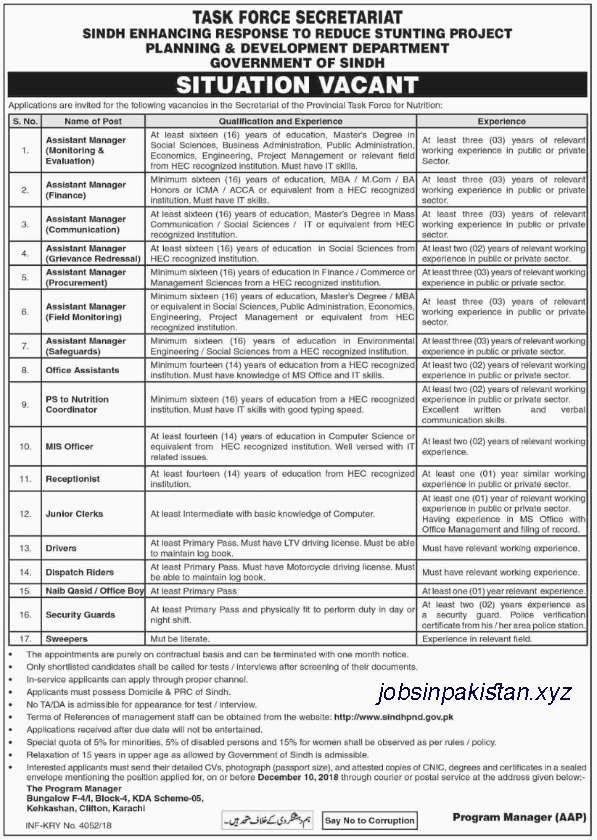 Advertisement for Planning and Development Jobs 2018