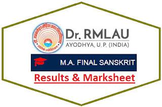 Ayodhya University MA Sanskrit Final Result 2021