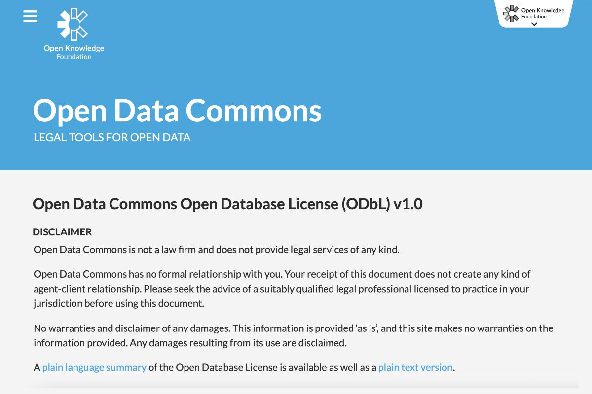Cos'è l'Open Database License