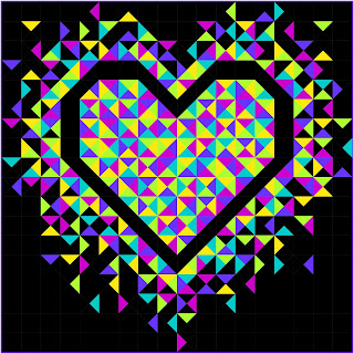 Exploding Heart quilt with bright solid fabrics for a neon look