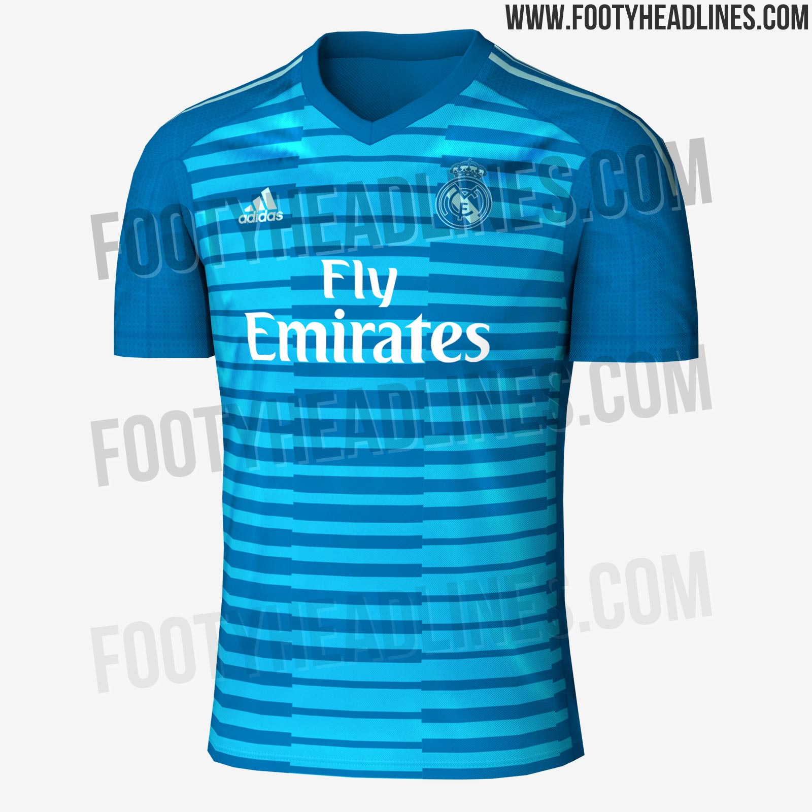 fea835d00 The goalkeeper away kit is more interesting as it combines no less than  three vibrant shades of blue. It s predominantly royal blue
