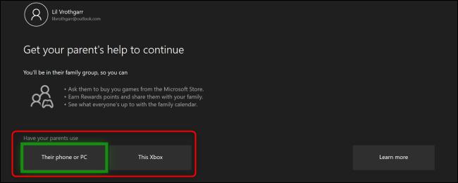 """قائمة Xbox One """"احصل على مساعدة ولي الأمر للمتابعة""""."""