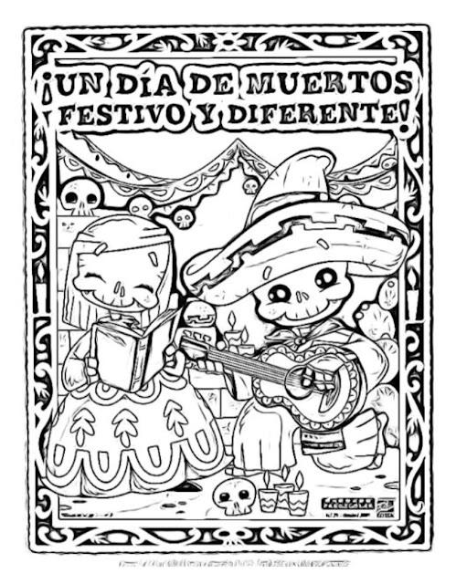 Muchos dibujos día de los muertos para colorear