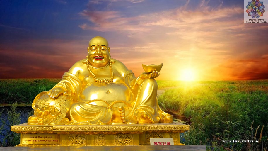 Lucky laughing buddha golden Wallpaper & images for money happiness prosperity, Celestial Buddha or Budai also known as the Laughing Buddha