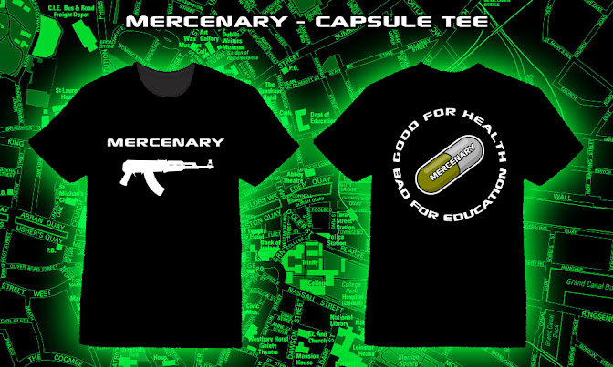 Mercenary Capsule T-Shirt - Mercenary AK Logo printed on the front, Akira Capsule Gang motif on the back - Good for Health, Bad for Education - https://mercenary-garage.myshopify.com/