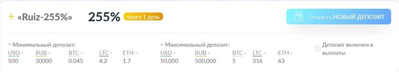 Инвестиционные планы RuizCoin 8