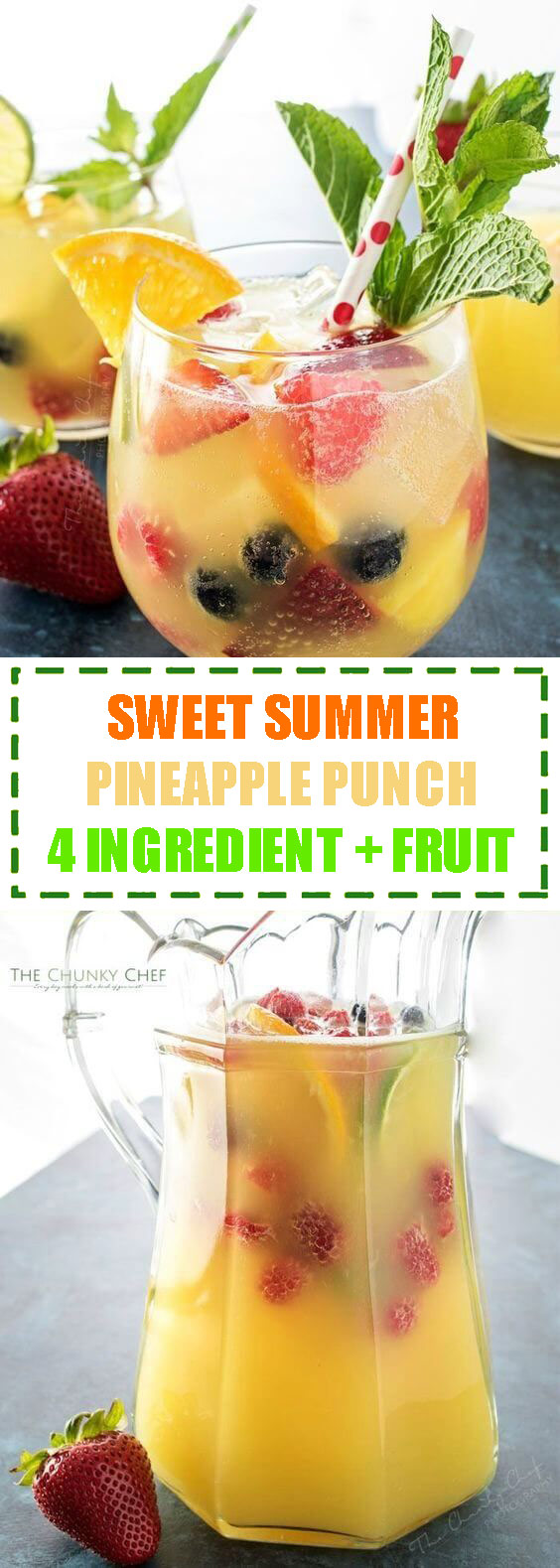 Sweet Summer Pineapple Punch 4 Ingredient + Fruit