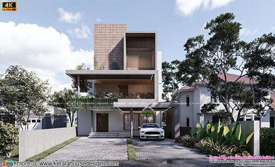 Flat roof contemporary style 3 storied house design