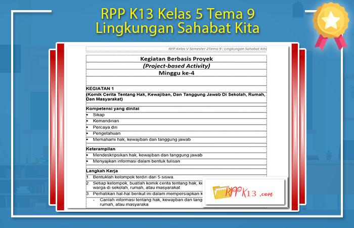 RPP K13 Kelas 5 Tema 9 Lingkungan Sahabat Kita