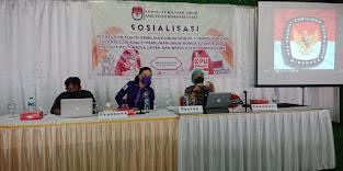 Suasana saat dilaksanakan sosialisasi oleh komisioner KPU Minahasa Utara
