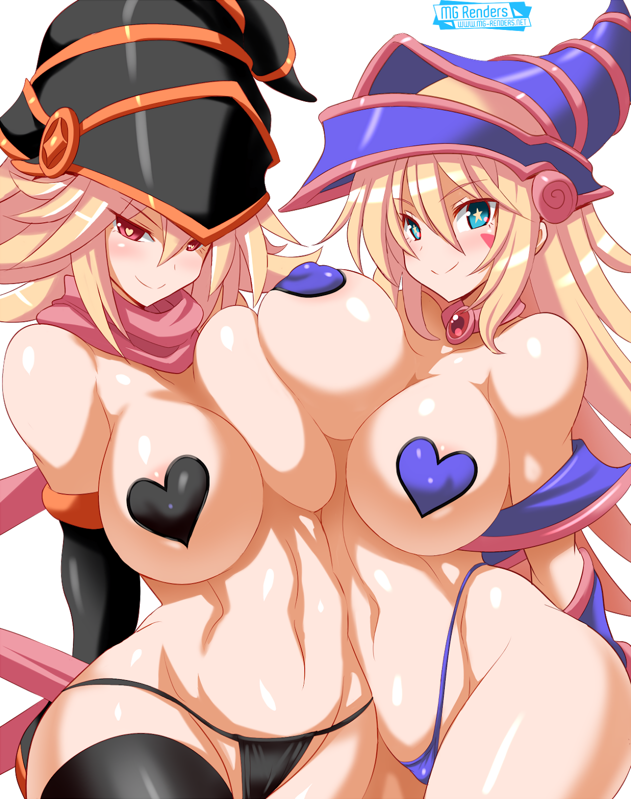 Tags: Anime, Render,  Bare shoulders,  Breasts press,  Breasts to breasts,  Dark Magician Girl,  Gagaga Girl,  Huge Breasts,  Konno Tohiro,  Micro Bikini,  Navel,  No bra,  Pasties,  Yu-Gi-Oh,  Yuri, PNG, Image, Picture