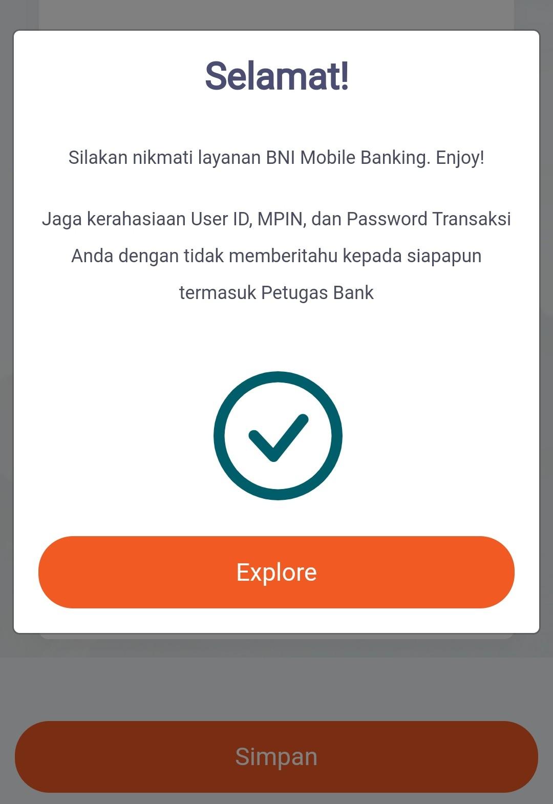 Aktivasi BNI M-Banking Berhasil