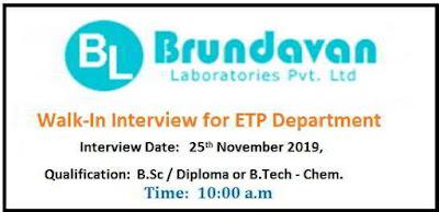 Brundavan Laboratories walk-in interview for ETP on 25th Nov' 2019