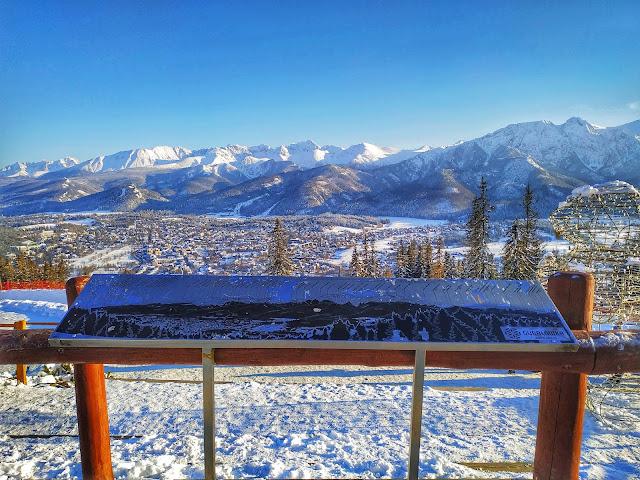 panorama Tatr zimą, widok na szczyty, Zakopane zimą
