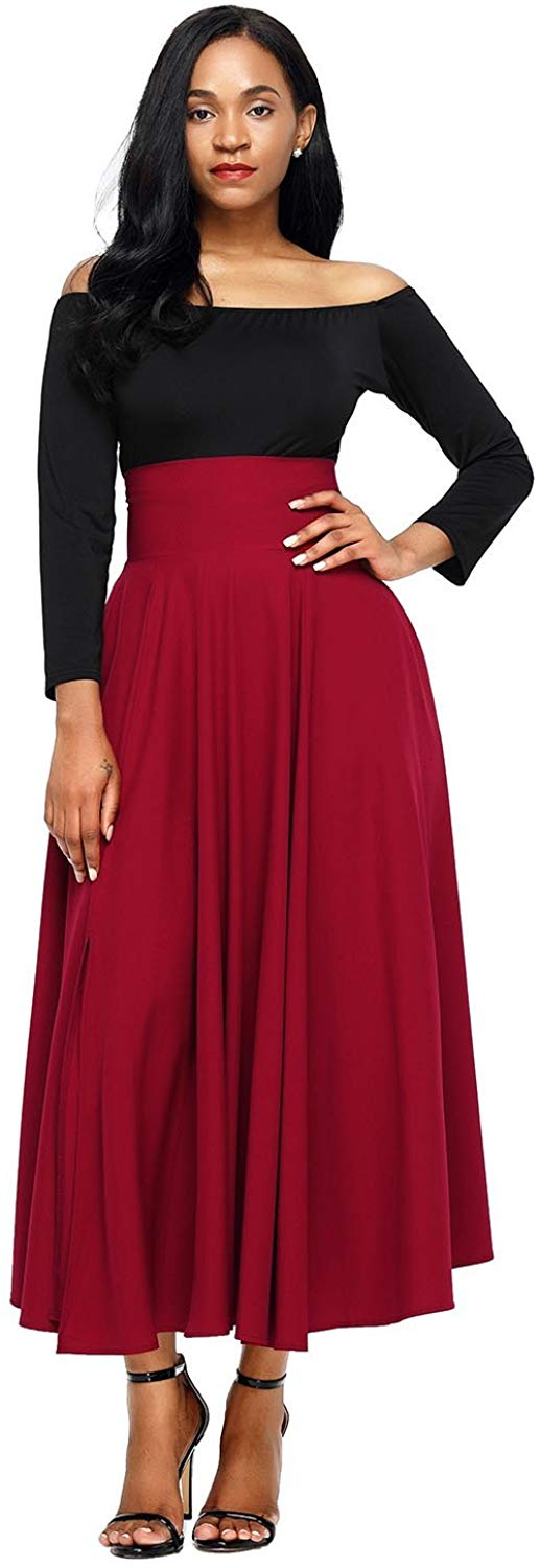 Boldgal Women's Long Pleated Maxi Skirt (Red)