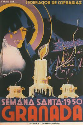 Cartel oficial en 1950 de la Real Federación de Hermandades y Cofradías de Semana Santa de Granada