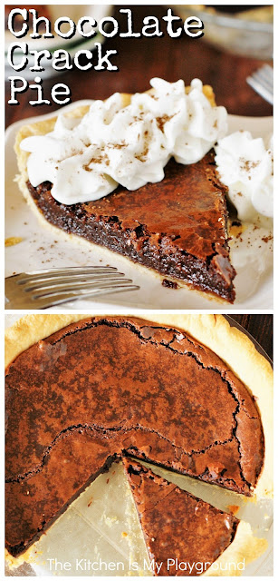 Chocolate Crack Pie ~ Amazingly-rich-and-fudgy, addictively delicious, scratch-made gooey brownie ... in a crust! #chocolatepie #browniepie   www.thekitchenismyplayground.com