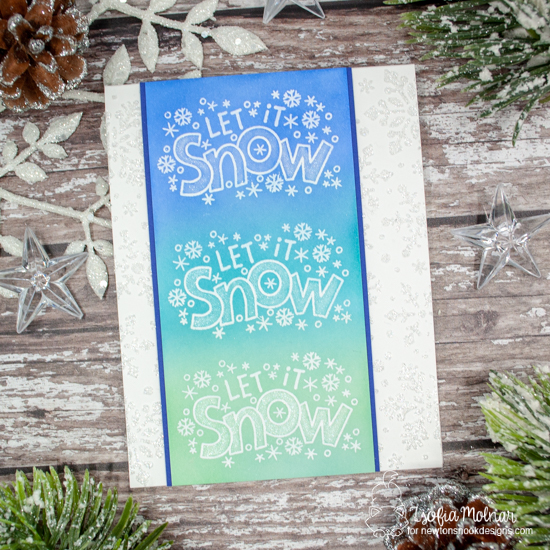 Let it Snow Card by Zsofia Molnar | Let it Snow Stamp Set and Snowfall Stencil by Newton's Nook Designs #newtonsnook #handmade
