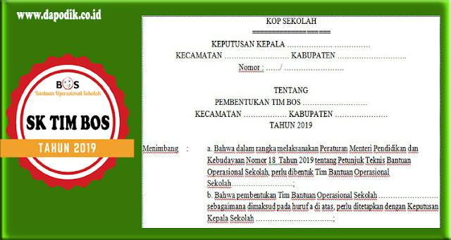 Contoh SK TIM BOS Sekolah 2019/ 2020 (File Format Doc)