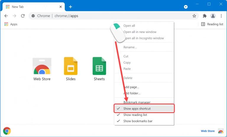 Chrome'da Uygulama Kısayolunu Devre Dışı Bırak